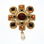 Chanel Vintage Goldtone Pearl & Gripox Maltese Cross