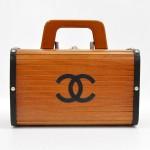 Chanel Vintage Wood & Black Leather Bag Rare Limited Edition