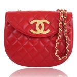 Chanel Vintage genuine red Lambskin Big Logo Classic Cross-body quilted bag