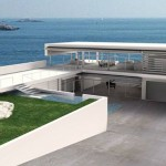 Images of modern houses in a garden setting - sea view