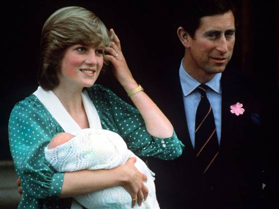Princess Diana holding newborn son Prince William