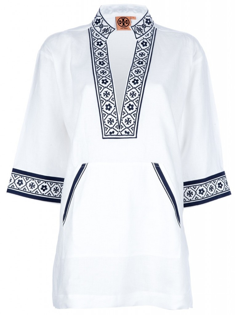 TORY BURCH Patterned trim kaftan - navy blue and white