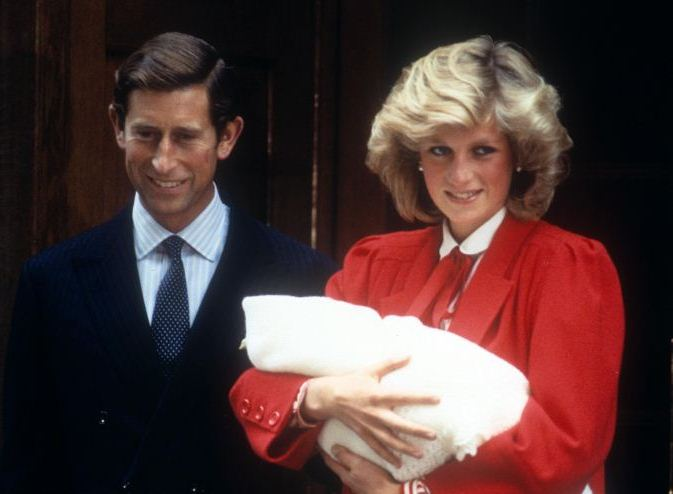 Prince Charles and Princess Diana outside the hospital with newborn son Prince Harry