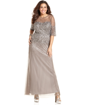 Plus Size Beaded Evening Dress