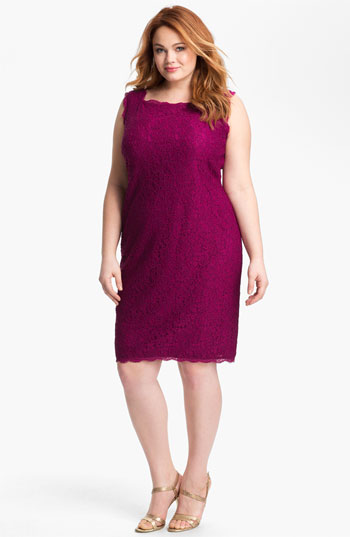 Plus size cocktail dresses - Adrianna Papell Sleeveless Lace Sheath Dress - Plus Size - Crushed Berry