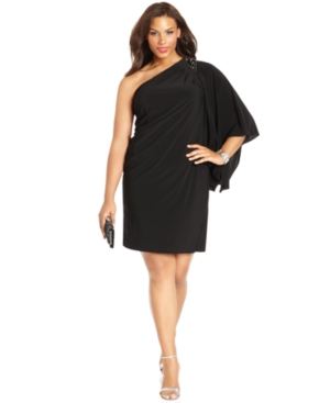 Black R&M Richards Plus Size Dress - Three Quarter Flutter Sleeve One Shoulder Beaded Cocktail Dress