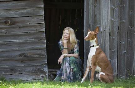 Author Candace Bushnell and dog