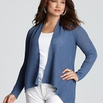 Eileen Fisher Plus Washable Wool Diagonal Air Short Cardigan