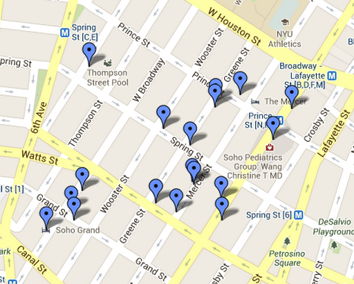 Map - A luscious day in SoHo New York