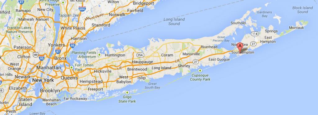 Distance between Manhattan and Southampton New York