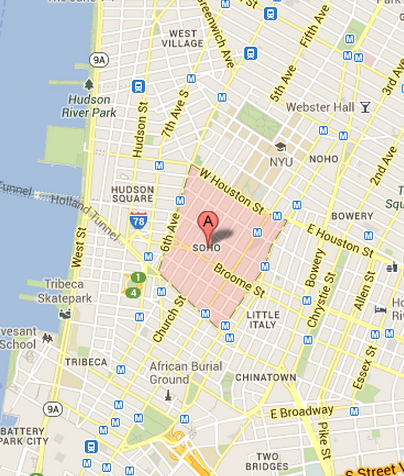 Map of SoHo New York