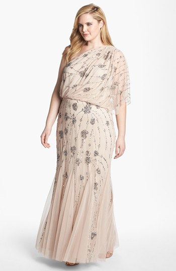 Plus size evening dresses - Adrianna Papell Beaded One Shoulder Gown - Plus Size in Blush