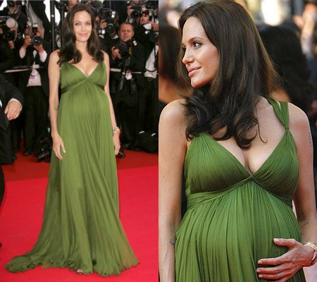 angelina jolie - green maternity dress
