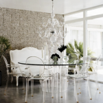 Pictures of lucite in design - Round glass and lucite dining table and chairs