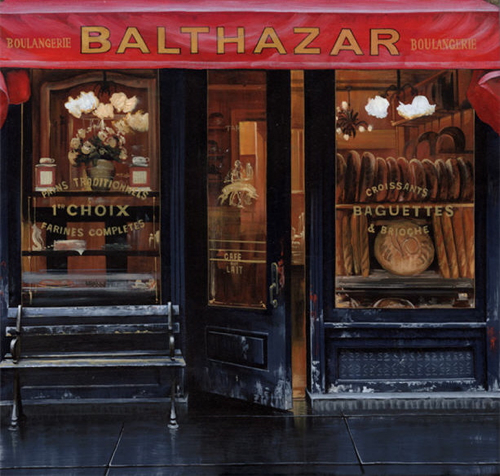 Entrance to Balthazar restaurant in Spring street New york