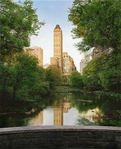 View of the Pierre Hotel tower from Central Park