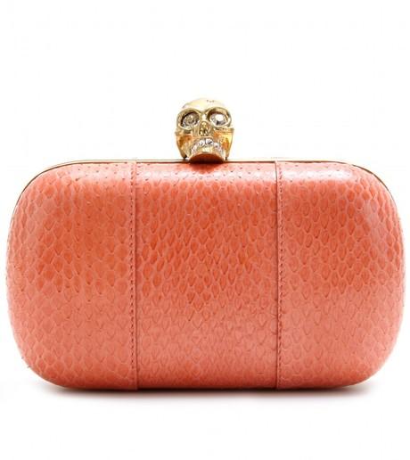 d55159bf0 Coral Alexander McQueen Skull snakeskin box clutch purse