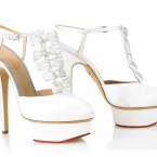 White shoes with ruffle and platform