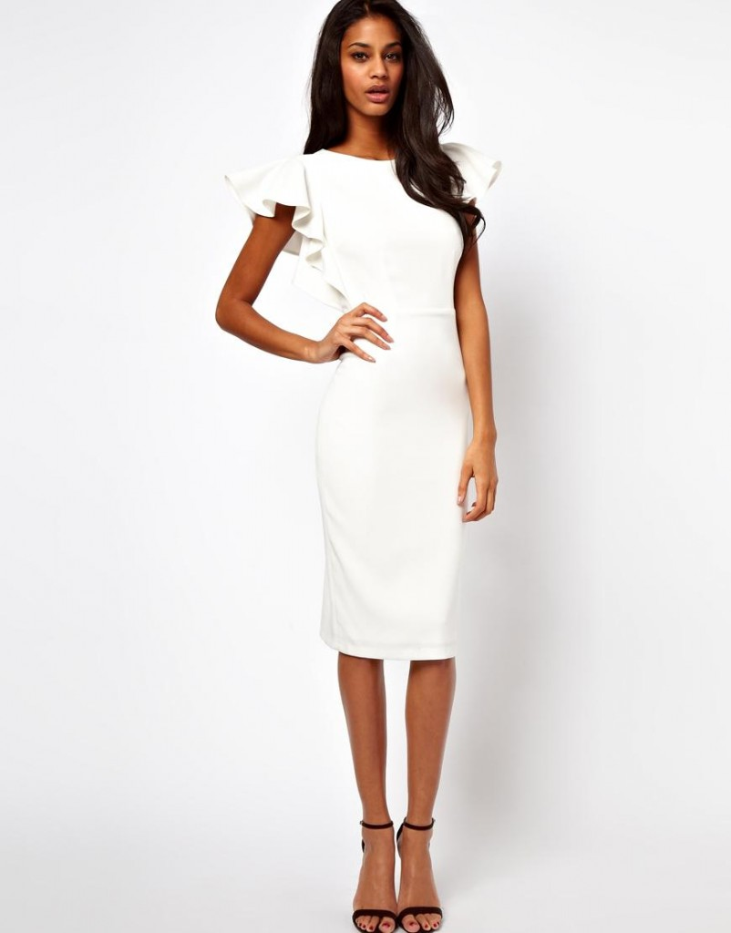 ASOS white pencil dress with ruffle sleeves