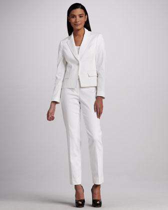 Albert Nipon white pique pant suit