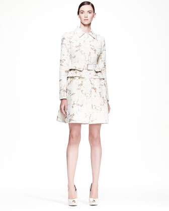 Alexander McQueen cream-sand pleated-back coat dress