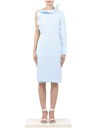 Givenchy pastel powder blue asymmetrical ruffle dress