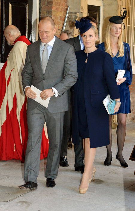 Godmother and royal cousin pregnant Zara Phillips with her husband Mike Tindall