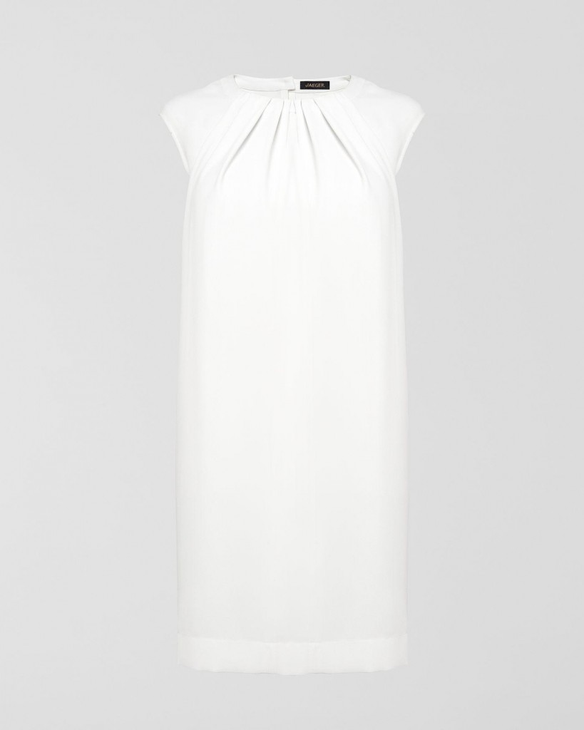 Jaeger white ruched neck cocoon dress