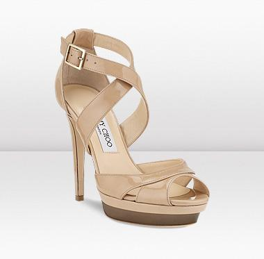 Jimmy Choo Kuki nude and pewter patent peeptoe platform sandals