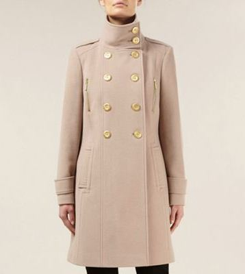 Planet nude blonde mid-length wool military coat