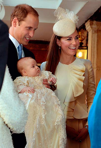 The happy family - Prince George christening ceremony photo - October 2013