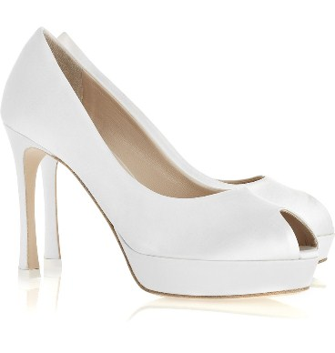 Yves Saint Laurent white Palais satin peep-toe pumps