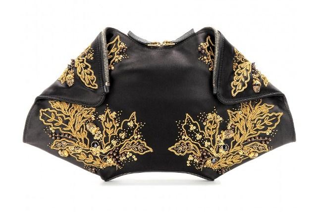 ALEXANDER MCQUEEN De Manta embellished silk-satin clutch