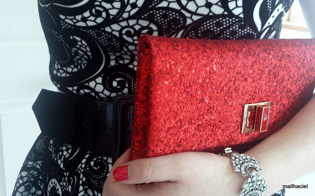 ANYA HINDMARCH red Valorie glitter-embellished clutch