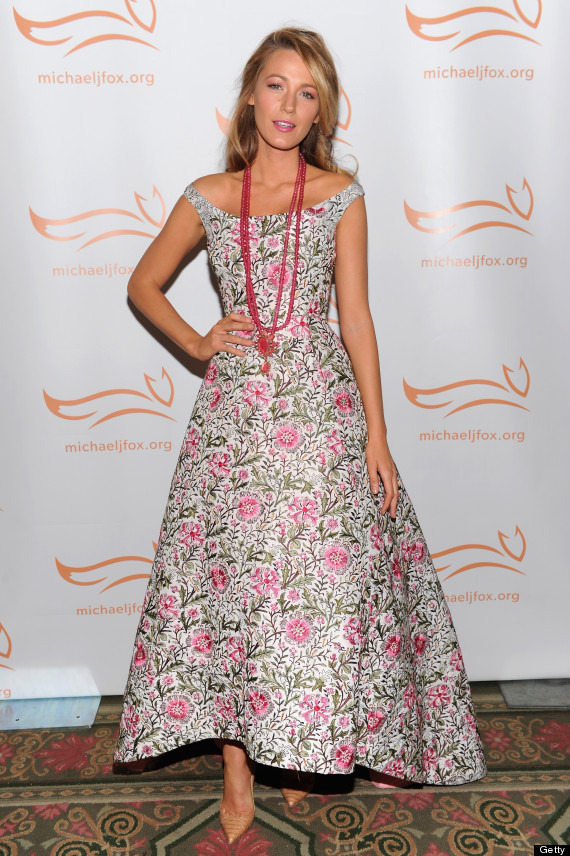Blake Lively in floral Oscar de la Renta dress