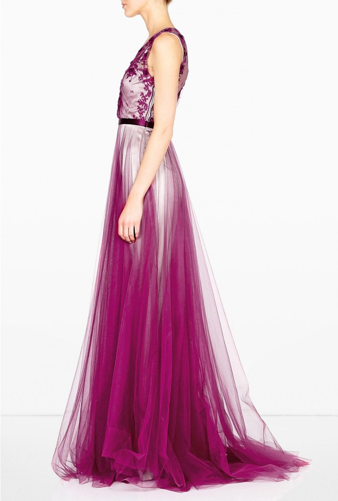Catherine Deane magenta prarie embroidered gown
