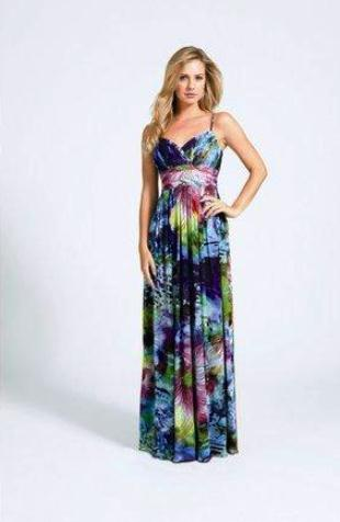 Decode spaghetti strapped multi colored floral print gown