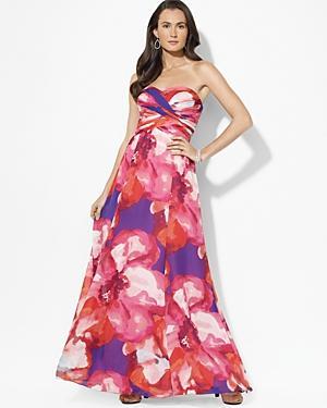 Lauren Ralph Lauren petites strapless printed floral gown