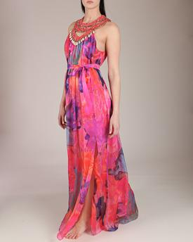 Matthew Williamson acid floral pink mousseline beaded gown