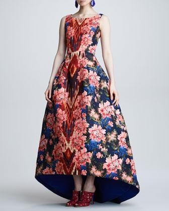 Oscar de la Renta floral Ikat jacquard gown in navy red