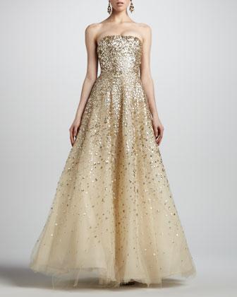 Oscar de la Renta strapless floral paillette ball gown in champagne