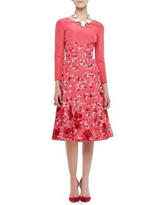 Oscar de la Renta three-quarter sleeve floral silk dress