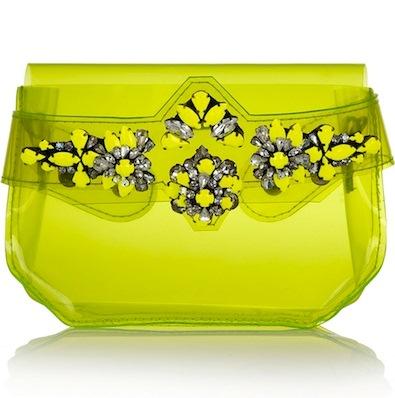SHOUROUK green lime crystal-embellished PVC clutch