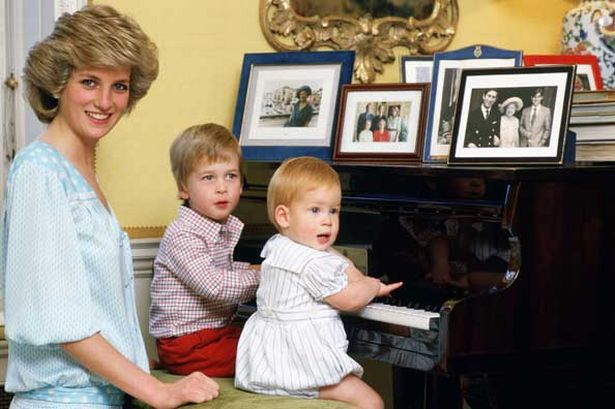 Diana and her two sons, William and Harry, at the piano in their Kensington Palace apartment, London