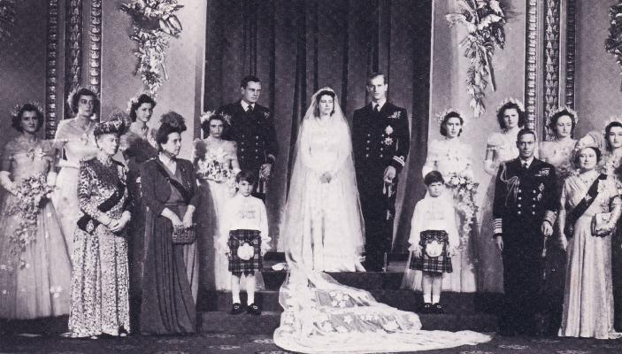 The 1947 wedding of Princess Elizabeth and Prince Philip, at which Lady Pamela Mountbatten was a bridesmaid