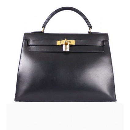 ON SALE: Hermes black box calf Kelly bag