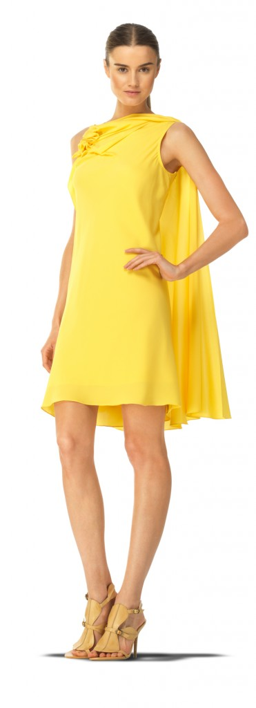 Maxstudio Grecian-inspired yellow stretch silk georgette side cape dress