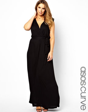 ASOS CURVE black Grecian maxi dress - plus size