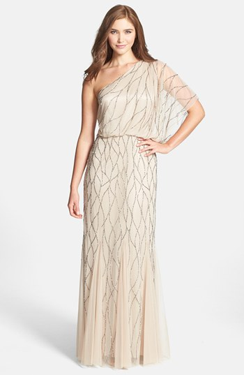 Grecian-draped dress - Adrianna Papell grecian-inspired one-shoulder beaded dress