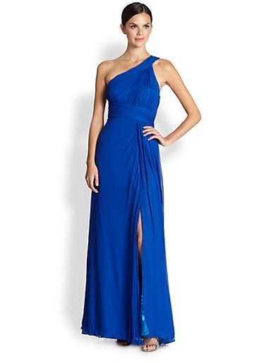 Greek goddess gown - Aidan Maddox blue single-shoulder silk Grecian gown